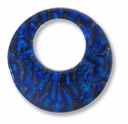 Dichroic Glass Blue 35mm Donut Pendant (1PC)