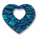 Dichroic Glass Blue 40x35mm Heart Pendant (1PC)
