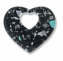 Dichroic Glass Black 40x35mm Heart Pendant (1PC)