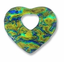 Dichroic Glass Green 40x35mm Heart Pendant (1PC)