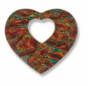 Dichroic Glass Orange 40x35mm Heart Pendant (1PC)
