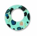 Dichroic Glass Aqua 30mm Donut Pendant (1PC)