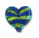 Dichroic Glass Blue Gold 23x28x8mm Heart Pendant (1PC)