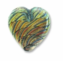 Dichroic Glass Rainbow Stripe 23x28x8mm Heart Pendant (1PC)