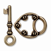 Brass Oxide Lock & Key Toggle Clasp