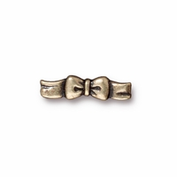 Brass Oxide Silver Ribbon Bow Clasp Bar