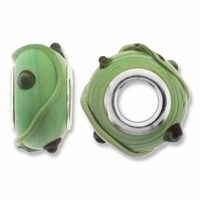 MIOVI™ Lampwork Large Hole Beads w/SP Grommets 14x9mm Green Swirl Design (6PK)