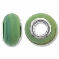MIOVI™ Lampwork Large Hole Beads w/SP Grommets 14x9mm Lt Green Swirl Design (6PK)
