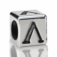 4.5mm Sterling Silver Greek Letter Beads: Lamda
