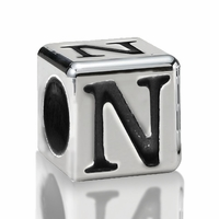 4.5mm Sterling Silver Greek Letter Beads: Nu