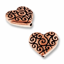 Antique Copper Heart Scroll Bead