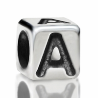 4.8mm Sterling Silver Rounded Cube Letter A