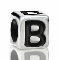 4.8mm Sterling Silver Rounded Cube Letter B
