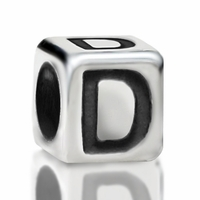 4.8mm Sterling Silver Rounded Cube Letter D