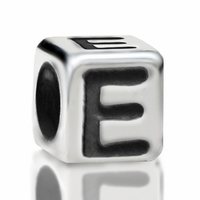 4.8mm Sterling Silver Rounded Cube Letter E