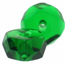 3 x 6 Emerald Czech  Glass Fire Polished Rondelles  (25PK)