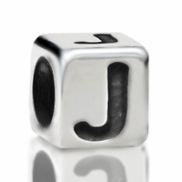 4.8mm Sterling Silver Rounded Cube Letter J