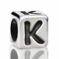 4.8mm Sterling Silver Rounded Cube Letter K