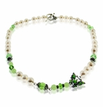 Peridot and Pearls Butterfly Necklace Design Idea
