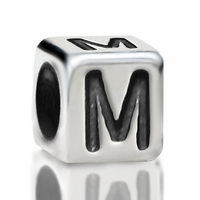 4.8mm Sterling Silver Rounded Cube Letter M
