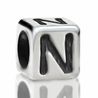 4.8mm Sterling Silver Rounded Cube Letter N