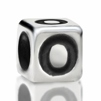 4.8mm Sterling Silver Rounded Cube Letter O