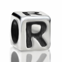4.8mm Sterling Silver Rounded Cube Letter R