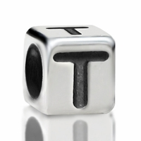 4.8mm Sterling Silver Rounded Cube Letter T