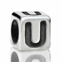 4.8mm Sterling Silver Rounded Cube Letter U