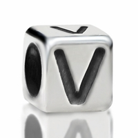 4.8mm Sterling Silver Rounded Cube Letter V