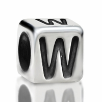 4.8mm Sterling Silver Rounded Cube Letter W