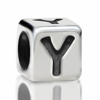 4.8mm Sterling Silver Rounded Cube Letter Y