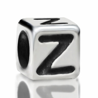4.8mm Sterling Silver Rounded Cube Letter Z