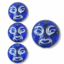Sapphire w/Silver Inlay 9mm Moon Face Beads (12PK)