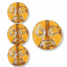 Topaz w/Gold Inlay 9mm Moon Face Beads (12PK)