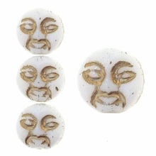 White w/Gold Inlay 9mm Moon Face Beads (12PK)