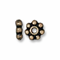 4mm Brass Oxide Beaded Heishi (10PK)