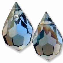 Czech 6 x 10mm Tear Drop Montana AB Beads (1PR)