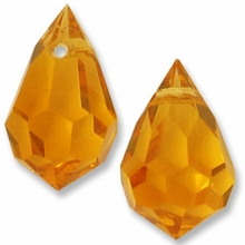 Czech 6 x 10mm Tear Drop Topaz Beads (1pr)