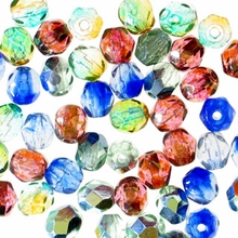4mm Sea Side Mix Czech Fire Polished Round Glass Beads (50PK)