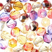4mm Sun Set Mix Czech Fire Polished Round Glass Beads (50PK)