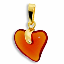 Dark Topaz Gold Pendent Heart 15mm (1PC)