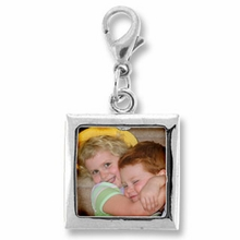 Square Photo Frame Charm Silver Plated