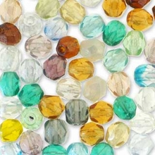 4mm Bauble Mix Czech FirePolished Round Glass Beads (50PK)
