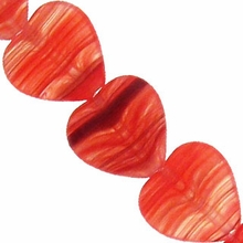 Czech Hurricane Glass 10mm Flat Heart Red  (25PK)