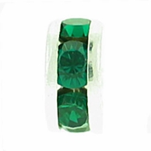 6mm Base Metal Silver Rondelle: Emerald (4PK)