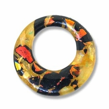 Dichroic Glass Orange 30mm Donut Pendant (1PC)