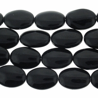 Black 16x11mm Puffed Oval Glass Beads 12 inch Strand