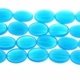 Azure Blue 16x11mm Puffed Oval Glass Beads 12 inch Strand