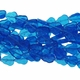 Capri Blue 16x11mm Leaf Glass Beads 12 inch Strand